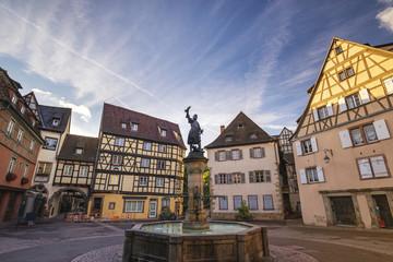 Colmar France, Colorful Half Timber House city skyline at Schwendi Fountain