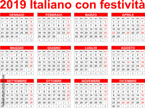 Calendario 18.Calendario Italiano 2019 Con Festivita Stock Image And Royalty Free