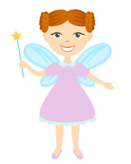 Redheaded fairy with magic wand isolated on white background