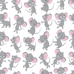 Cute baby mouse seamless pattern. Adorable toddler, newborn textile vector design. Illustration of little rat, fun cartoon animal