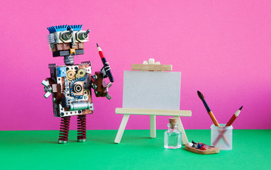 Robot artist with brush paints palette, wooden easel and blank white paper. Advertising poster mockup. Pink background
