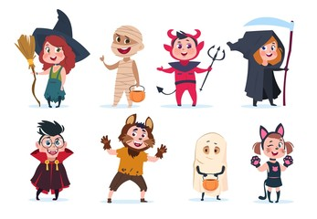 Halloween kids. Cartoon children in halloween costumes. Funny girls and boys at party vector isolated charactres. Illustration of girl and boy costume monster, dracula and mummy Wall mural