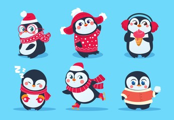 Penguins. Christmas penguin characters in winter clothes. Xmas holiday cute vector cartoon mascots. Cartoon christmas animal penguin illustration