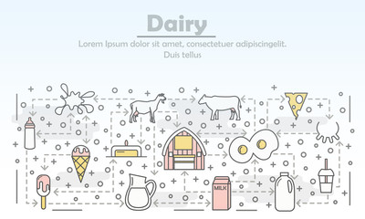 Vector thin line art dairy poster banner template