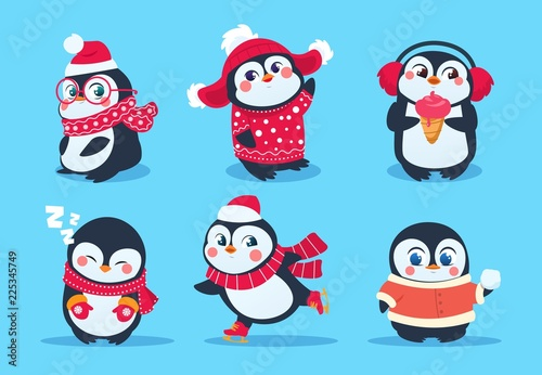 9ffb32ec8bf Christmas penguin characters in winter clothes. Xmas holiday cute vector  cartoon mascots.