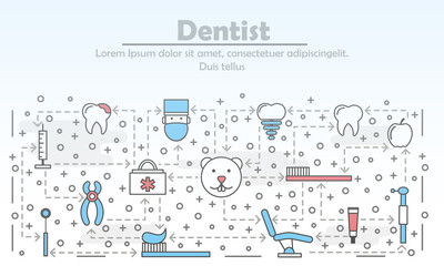 Vector thin line dentist poster banner template