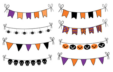Hand drawn bunting flags in orange, purple and black for Halloween graphic design and decor