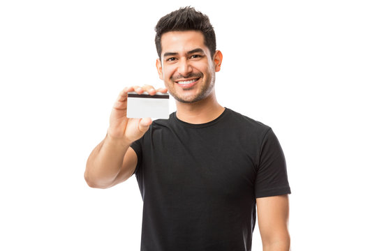 Attractive Guy Promoting Credit Card