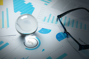 business trade stock forecast and plan with crystal ball
