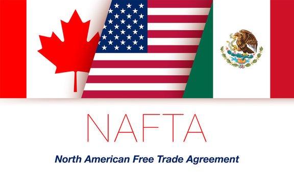 Vector Flags of NAFTA Countries Canada, United States of America and Mexico. The North American Free Trade Agreement