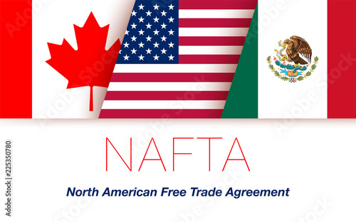 Vector Flags Of Nafta Countries Canada United States Of America And