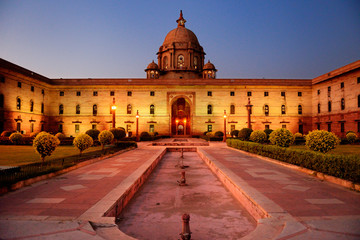 Indian parliament in New Delhi by night.