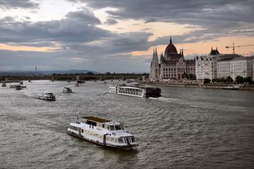 Danube river - panorama. Danube in Budapest Hungary. View of the Danube in Budapest