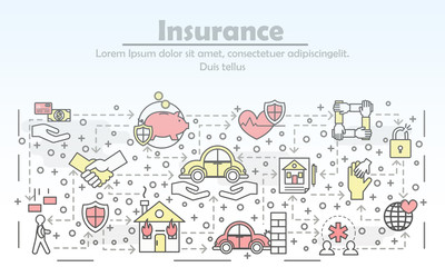 Vector thin line insurance poster banner template