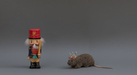 christmas nutcracker on gray background