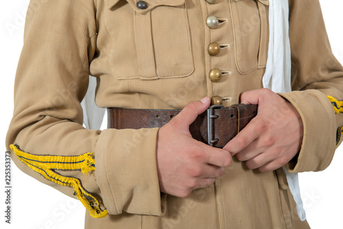 close up of uniform and equipment of french colonial soldier