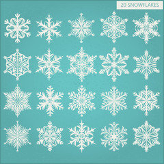 Set of vector snowflakes on a blue background
