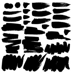 Set of brush stroke, Black ink grunge brush strokes. Vector illustration.