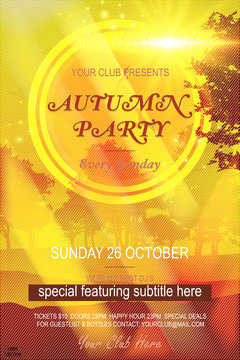 Autumn Party Flyer with an shiny backdrop of an abstract color pastel gradient on a vintage forest background. Vector Autumnal Fall Festival Design for Invitation or Holiday Celebration Poster. Vector