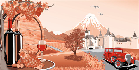 Landscape in red-wine, grapes and a wooden barrel for wine. Castle and retro car on the background of mountains and vineyards. Vector illustration