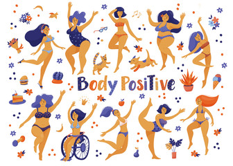 Big set of happy slim and plus size women in bikini, swimming suits dancing, flat vector illustration isolated on white background. Body positive, girl power concept set of various happy women, girls