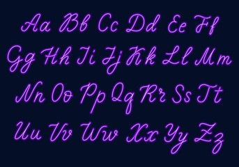 Purple neon script. Uppercase and lowercase letters.