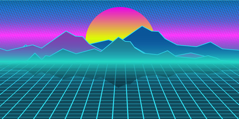 Cyberpunk retro computer background. Mountains, plain and sun