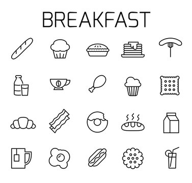 Breakfast related vector icon set.