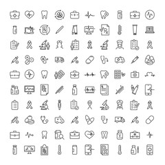 Simple set of healthcare related outline icons.
