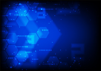 Faded hexagon with small stars on dark blue background