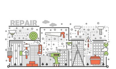 Vector thin line art repair poster banner template