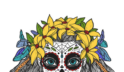 The beautiful portrait of a woman with big eyes and wearing a wreath. The girl in a costume to Day of the Dead. Can be used for tattoo ideas, covers, printing.