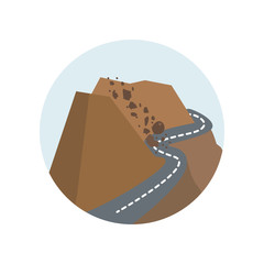 Rock avalanche, rockfall, fall, nature, rock, disaster, avalanche color icon. Element of global warming illustration. Signs and symbols collection icon for websites, mobile app
