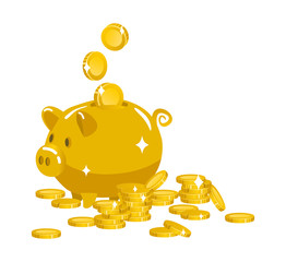 Gold piggy Bank and coins