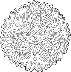 Isolated floral art for coloring book page