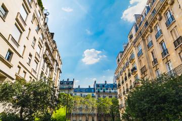 Elegant buildings under a blue sky in Paris