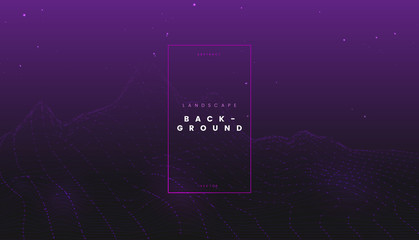 Purple futuristic abstract digital wireframe landscape with particles dots, perspective technology background. Can be used for science presentation, network visualization, and tech cyber project