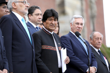 Bolivian President Evo Morales speaks in front of the International Court of Justice in The Hague