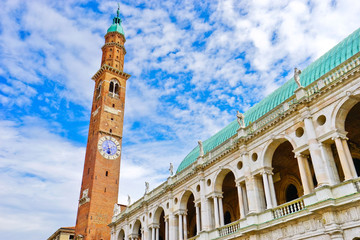 The Basilica Palladiana with clock tower is a Renaissance building in the central Piazza dei Signori in Vicenza, Italy.