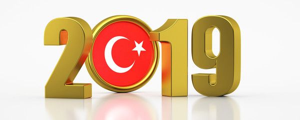 New Year 2019 and Turkey Flag