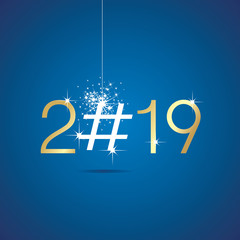 Happy New Year 2019 Christmas hashtag blue vector greeting card