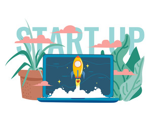 Vector illustration rocket soars into space through clouds. starting a business