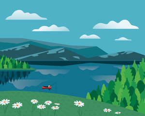 Mountain green valley landscape. Summer season lake scenic view poster. Flowers on river bank in Alps mountains. Colorful cartoon wild nature scene. Vector countryside banner background illustration