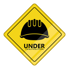 Under construction transit signal. Helmet silhouette. Vector illustration design