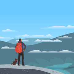 Mountain valley landscape. Adventure tourism trip vacation outside city. Wild nature scenic view poster. Man, dog in Alps high mountains. Minimal cartoon outdoors scene. Vector countryside background