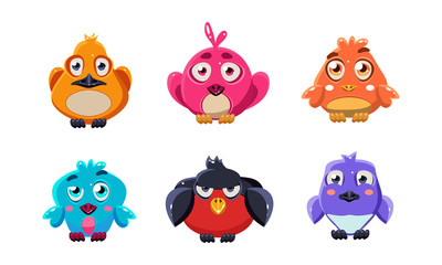 Fototapete - Cute little birds set, colorful cartoon glossy birdie, user interface assets for mobile apps or video games vector Illustration on a white background