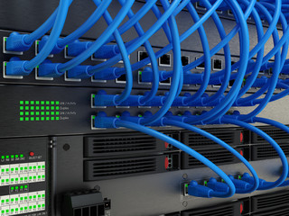Netzwerk Server mit Hub, Kabel und Verbindungen, 3D Rendering
