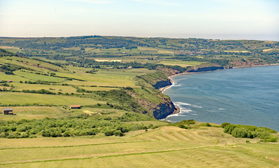 View from Ravenscar of the North Yorkhire, England coastline near Robin Hood's Bay