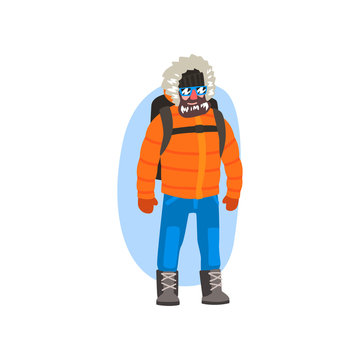 Male polar explorer in winter clothes, expedition to the Arctic vector Illustration on a white background