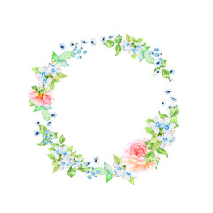 Hand drawn bright colorful watercolor flower wreath illustration
